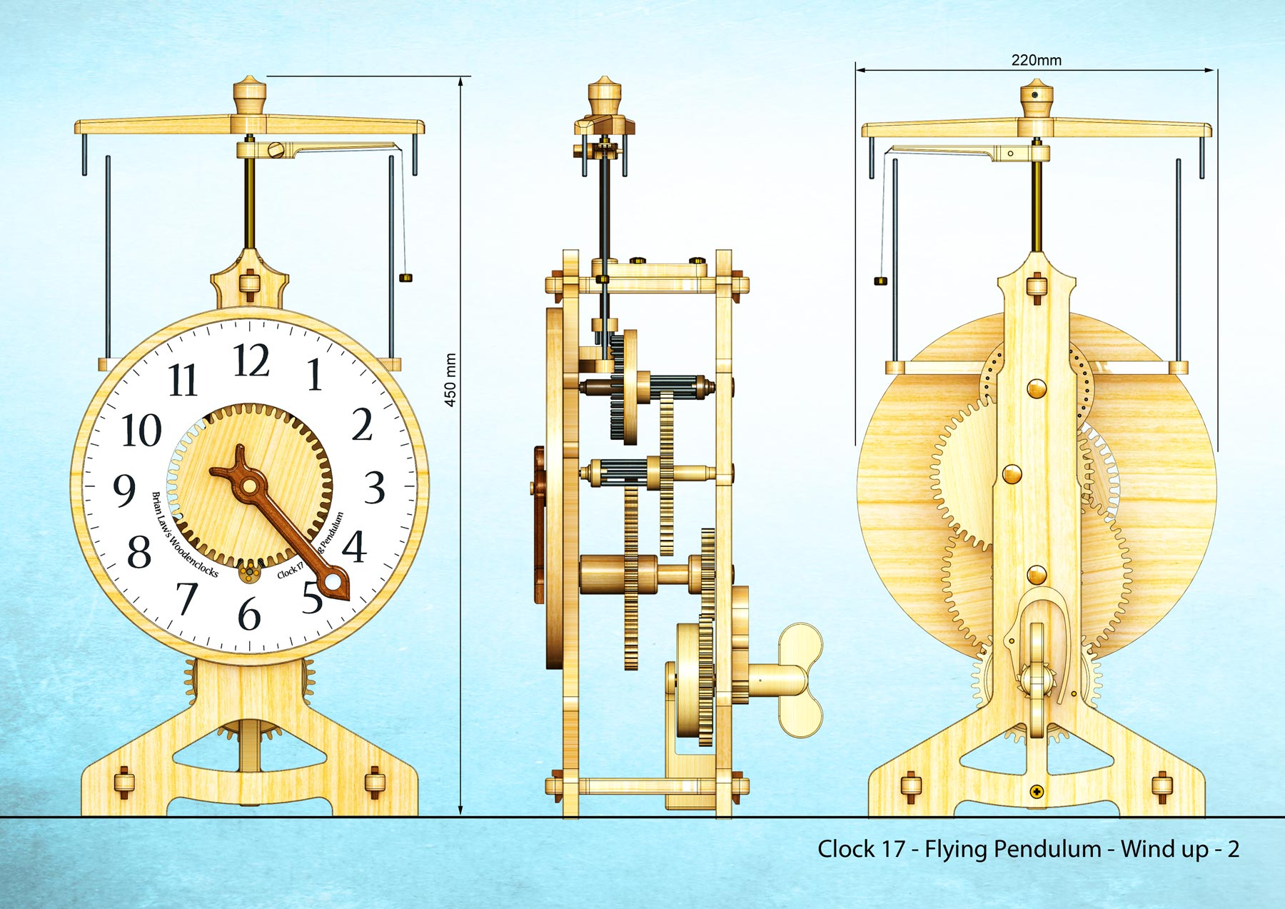 Clock 17 Flying Pendulum with wind up spring - Brian Law's Woodenclocks